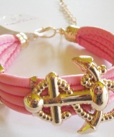 Fouled Anchor Bracelet - Pale Pink